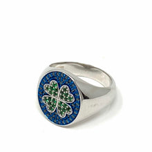 Load image into Gallery viewer, Lucky Clover Ring Blue Sapphires