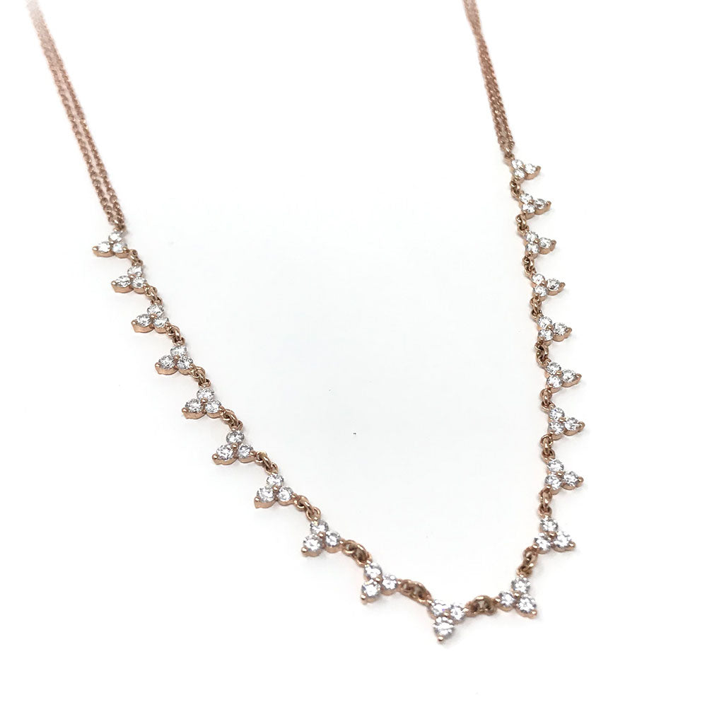 Trio Diamond Cluster Necklace