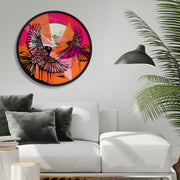 """Dance"" framed, circle artwork"