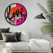 """Crazy Love"" framed, circle artwork"