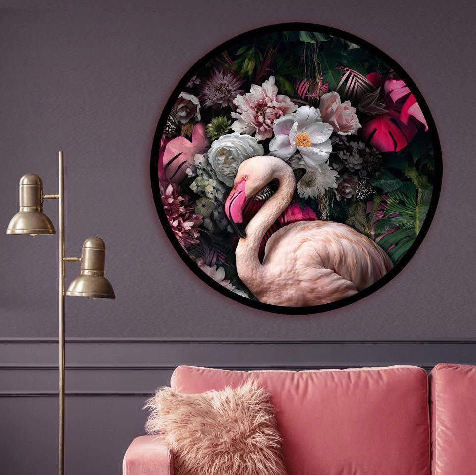 'Flora and the Flamingo' framed, circle artwork (pre-order)