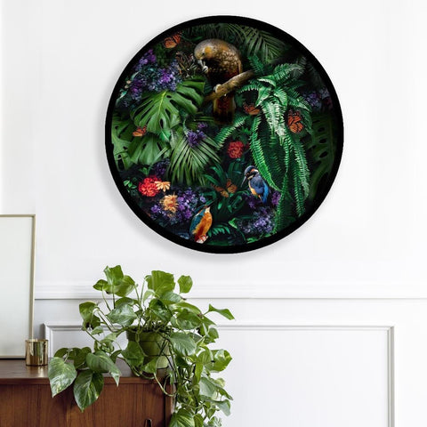 """Kea and the Kingfisher"" framed, circle artwork (pre-order)"