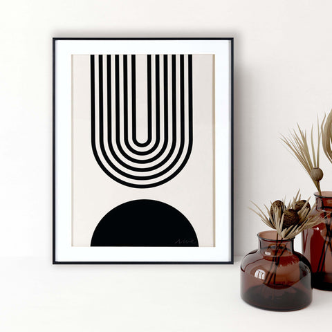 """Graphic Semi-Circle in Black"" Framed Artwork (PRE-ORDER)"