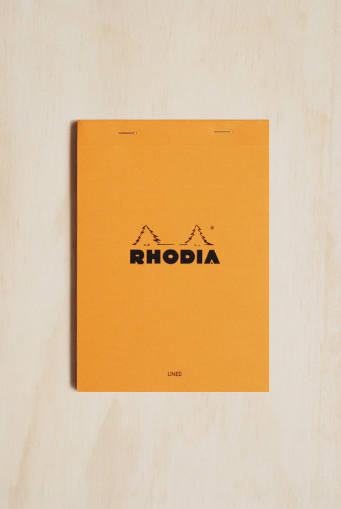 RHODIA - PAD #16 - TOP STAPLED - RULED + MARGIN - A5 - ORANGE - Pens Paper Ink