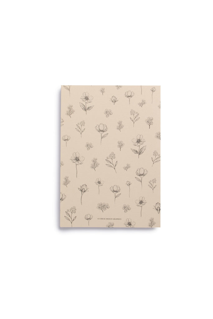 O-CHECK DESIGN GRAPHICS - CAHIER NOTEBOOK - DOT GRID - MEDIUM - FLORAL IVORY - Pens Paper Ink