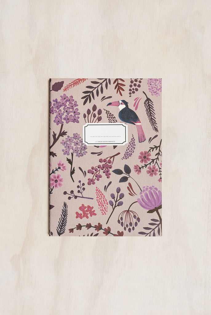 O-CHECK DESIGN GRAPHICS - CAHIER NOTEBOOK - RULED - MEDIUM - GARDEN PINK - Pens Paper Ink