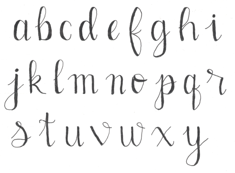 Faux Calligraphy Alphabet Lowercase - Pens Paper Ink