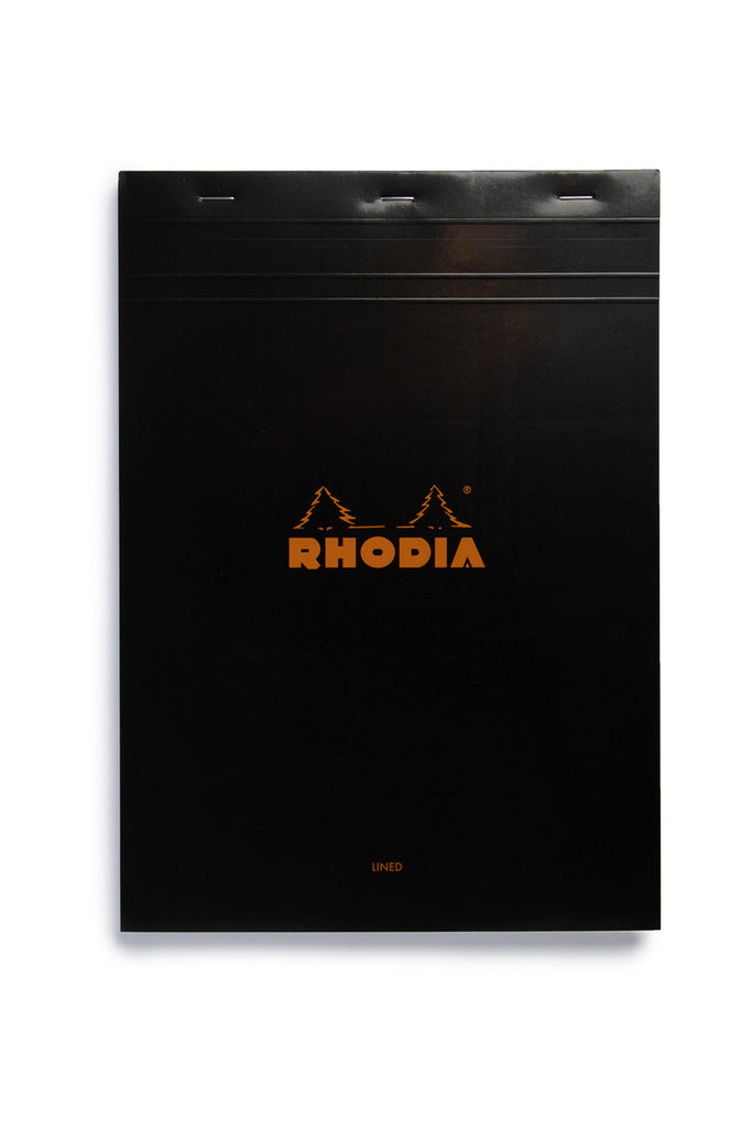 RHODIA - PAD #18 - TOP STAPLED - RULED + MARGIN - A4 - BLACK - Pens Paper Ink