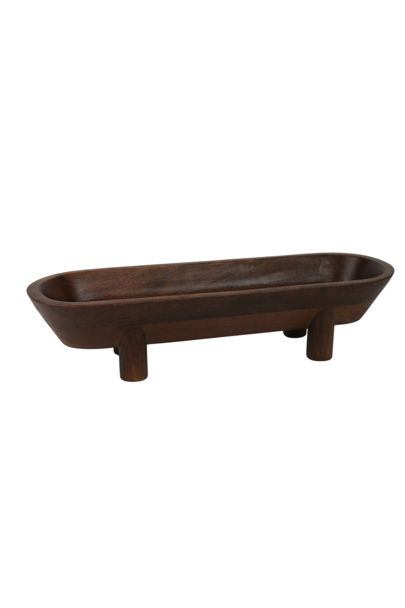 Walnut Finish Footed Tray