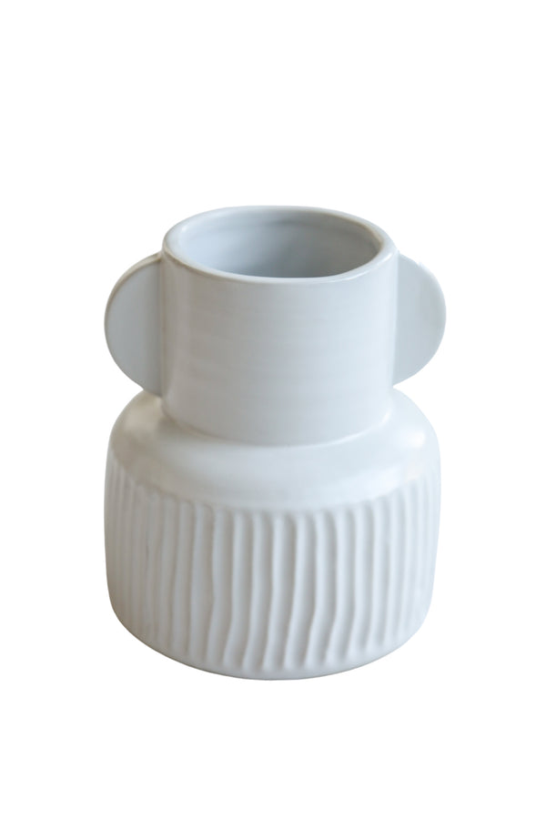 All White Eared Vase