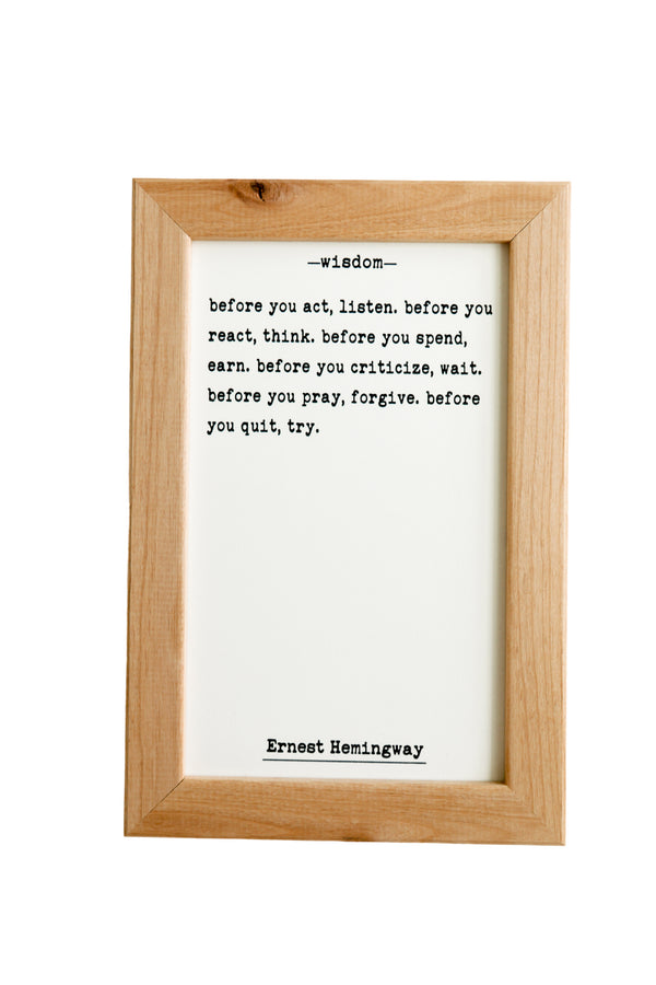 Wisdom by Hemingway Quote Board