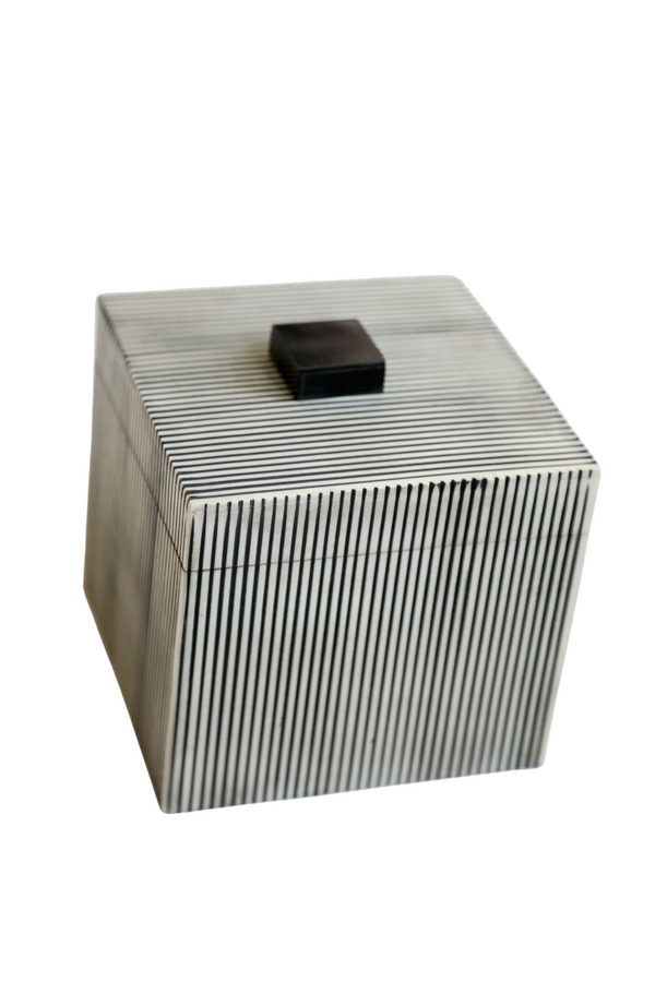 Ribbed Boxes with Black Knob