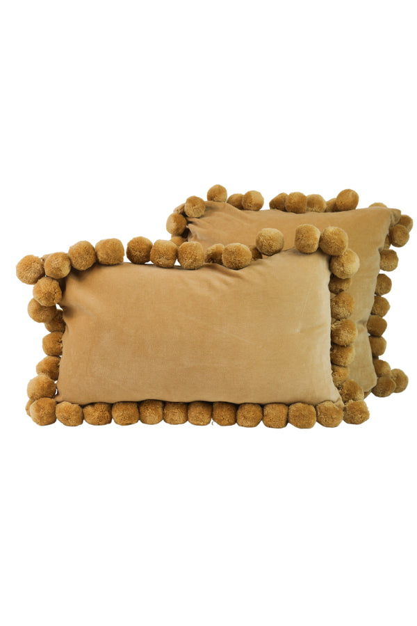 Golden Velvet Pom Pillows
