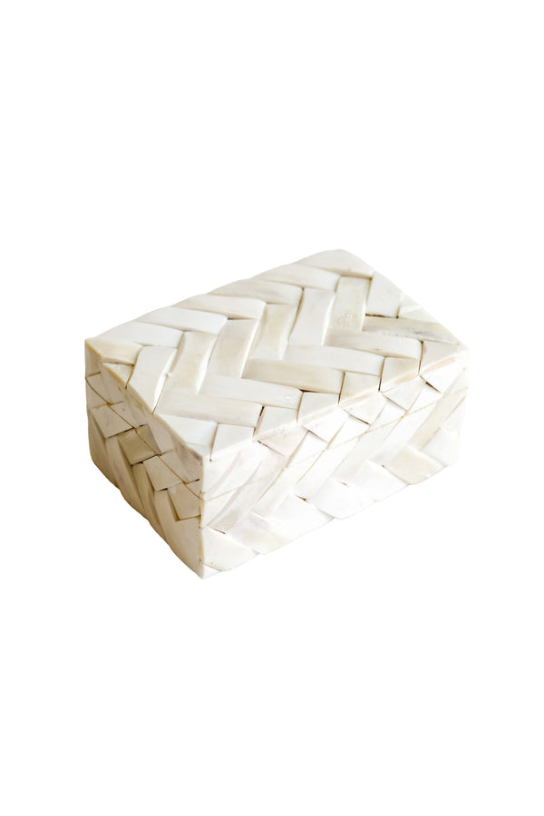White Basketweave Bone Box