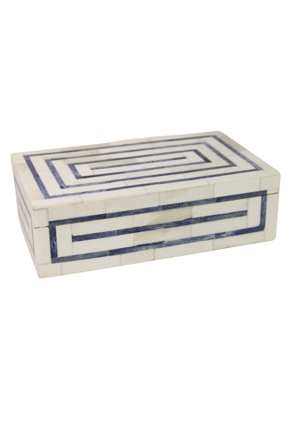 Blue Grid Bone Box