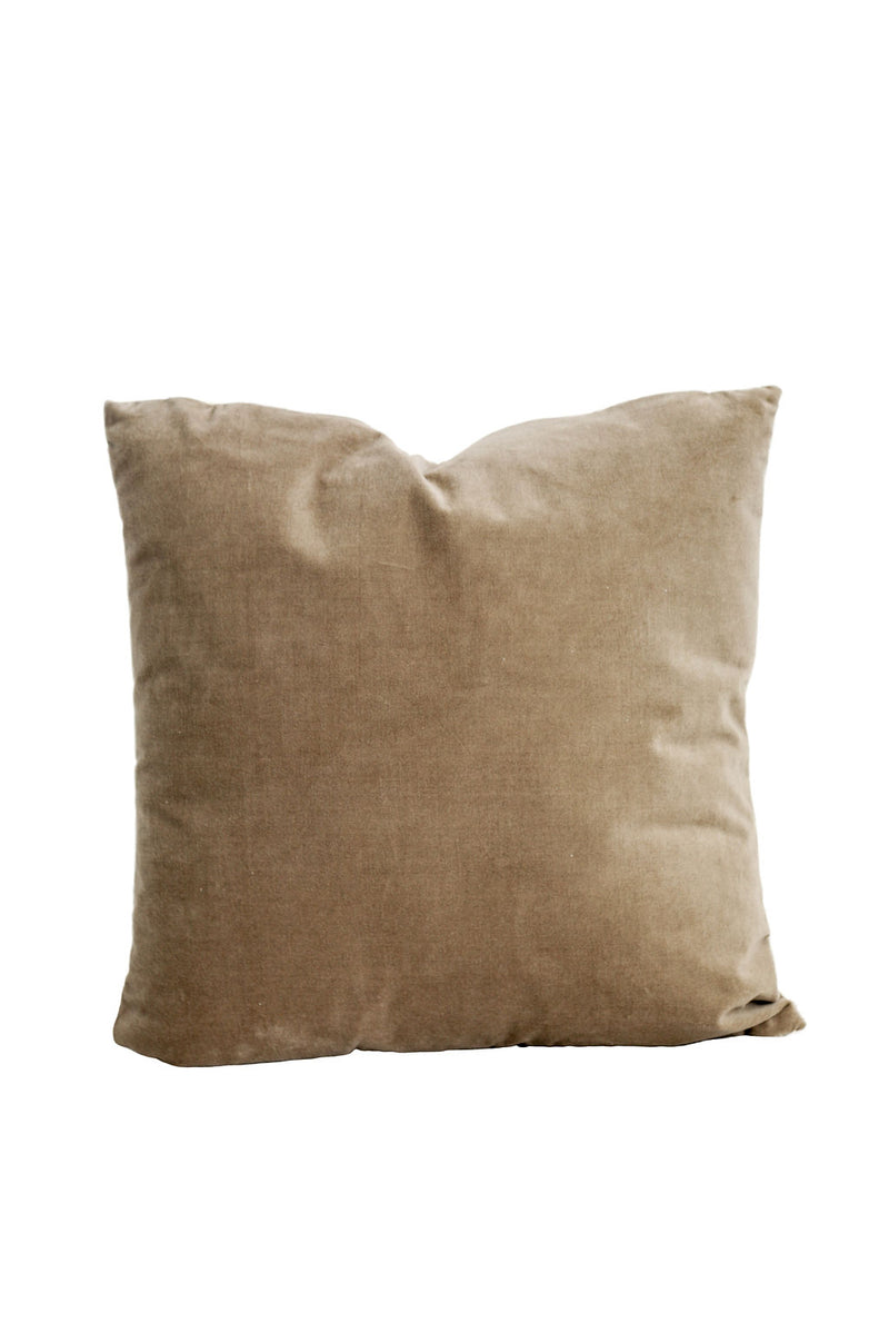 Velvet Front Pillow in Grey
