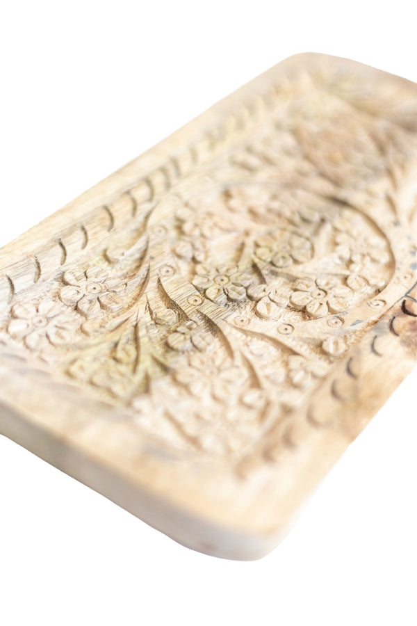 Rosette Hand-Carved Wood Tray