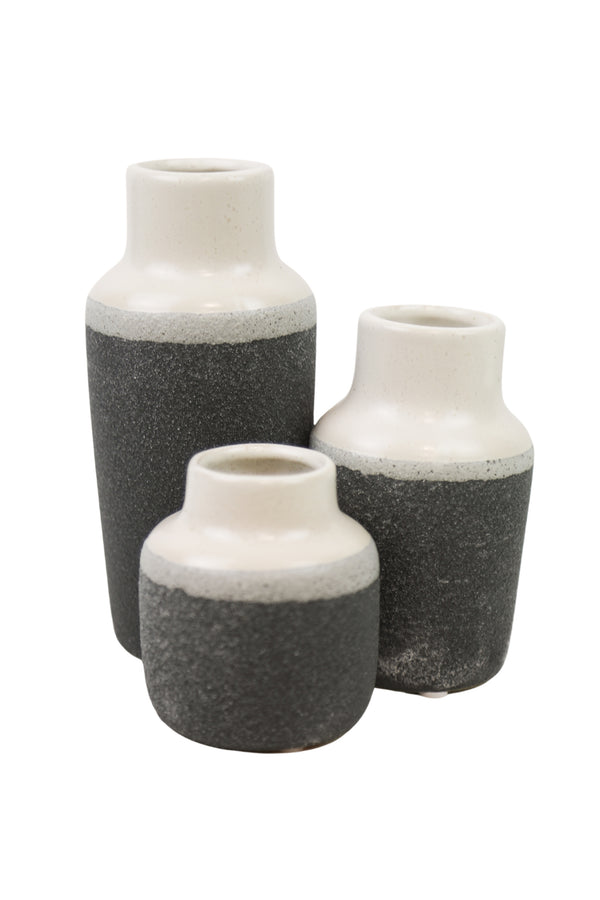 Black Dipped Rough Vases