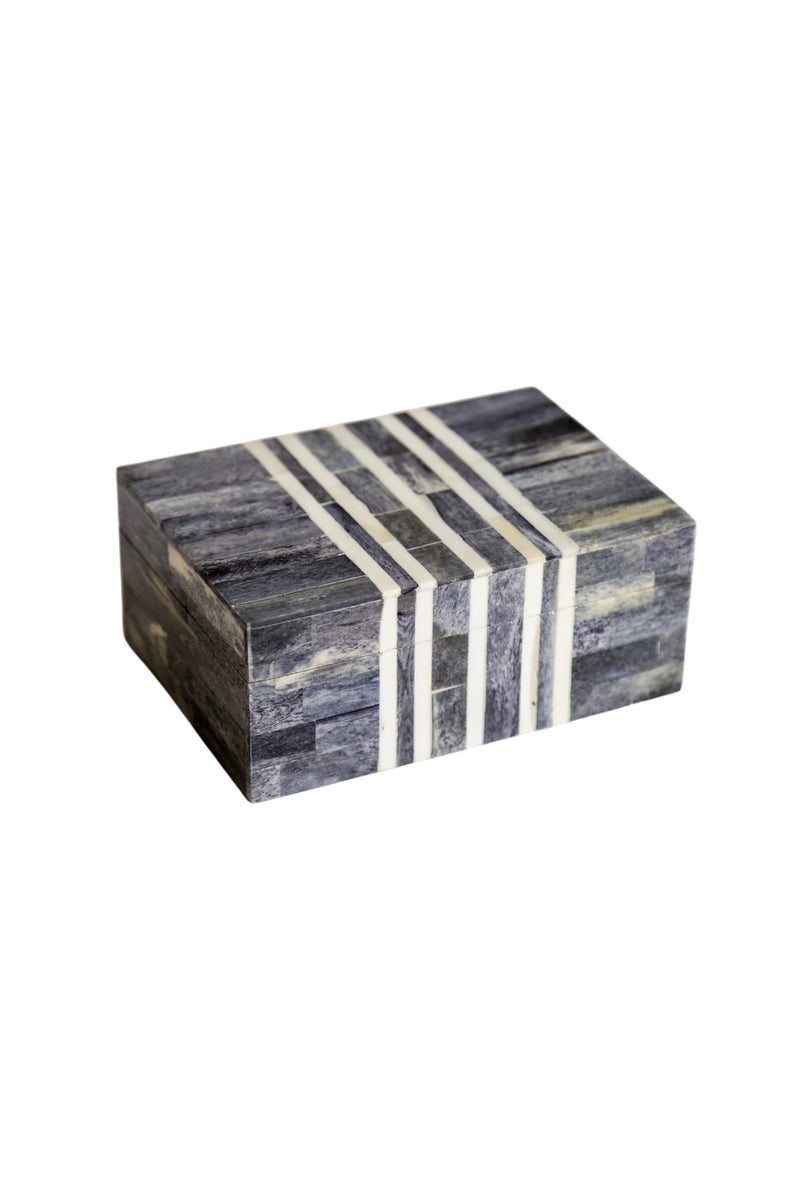 Gray White Stripe Bone Box