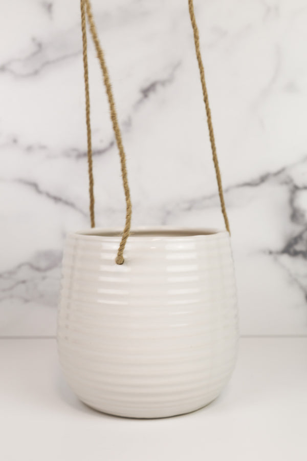 White Hanging Planter 6""