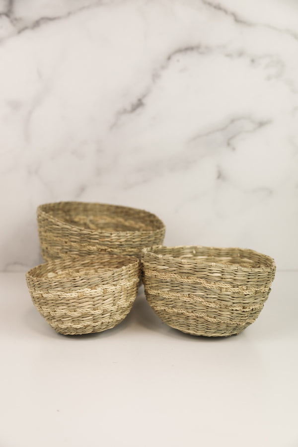 Green Weave Seagrass Bowl