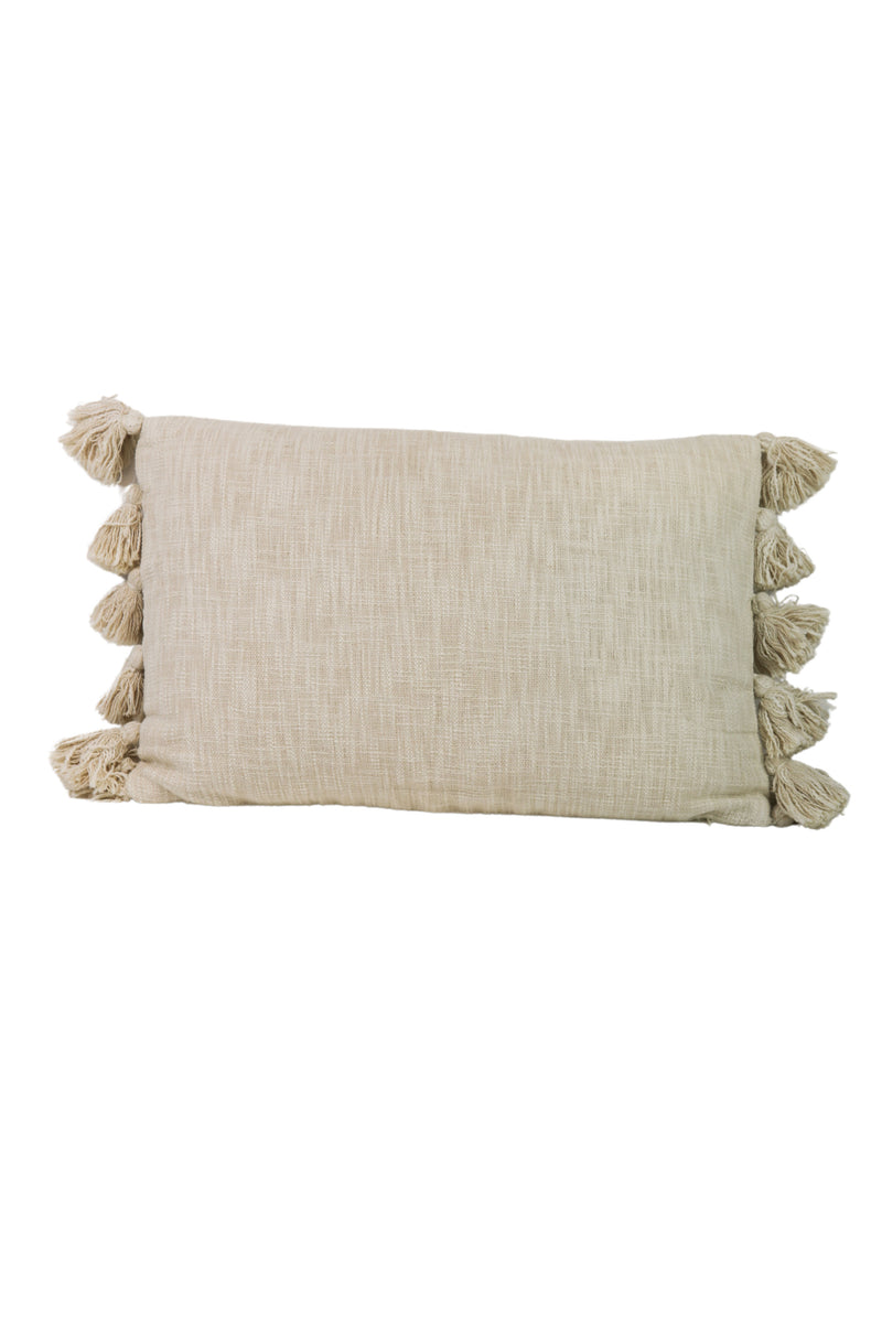 Cream Tassel Oblong Pillow