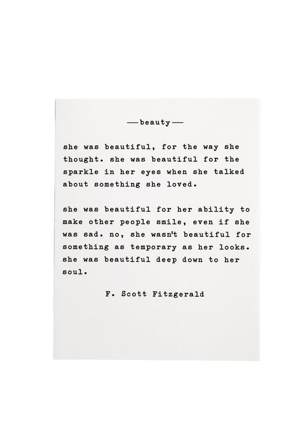 Beauty by Fitzgerald Large Paper Quote