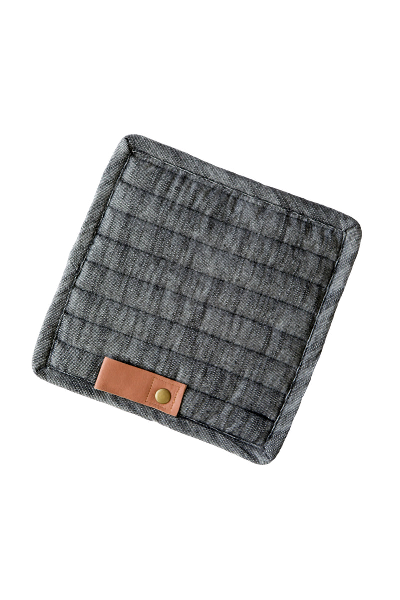 Black Potholder with Leather
