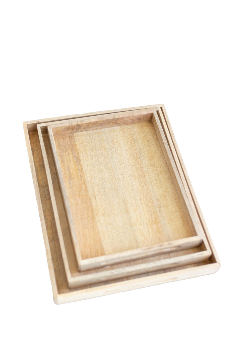 Nested Rectangle Wood Tray