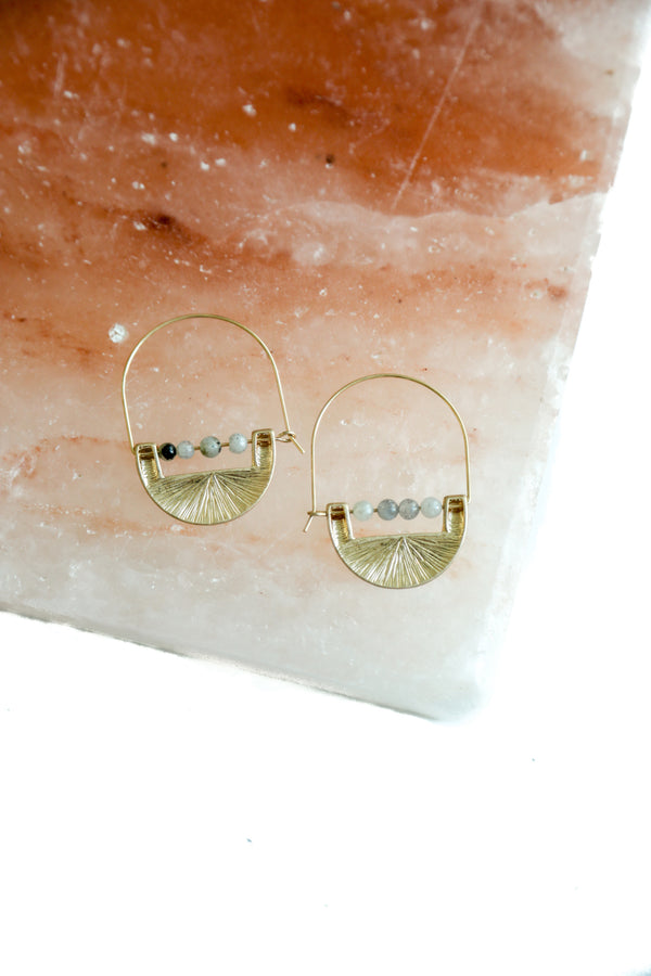 Haven Gold Drop Earrings in Pearl