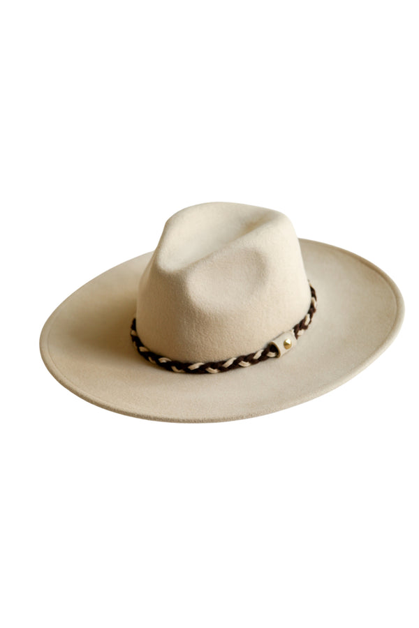 Ivie Wool Panama Hat in Beige