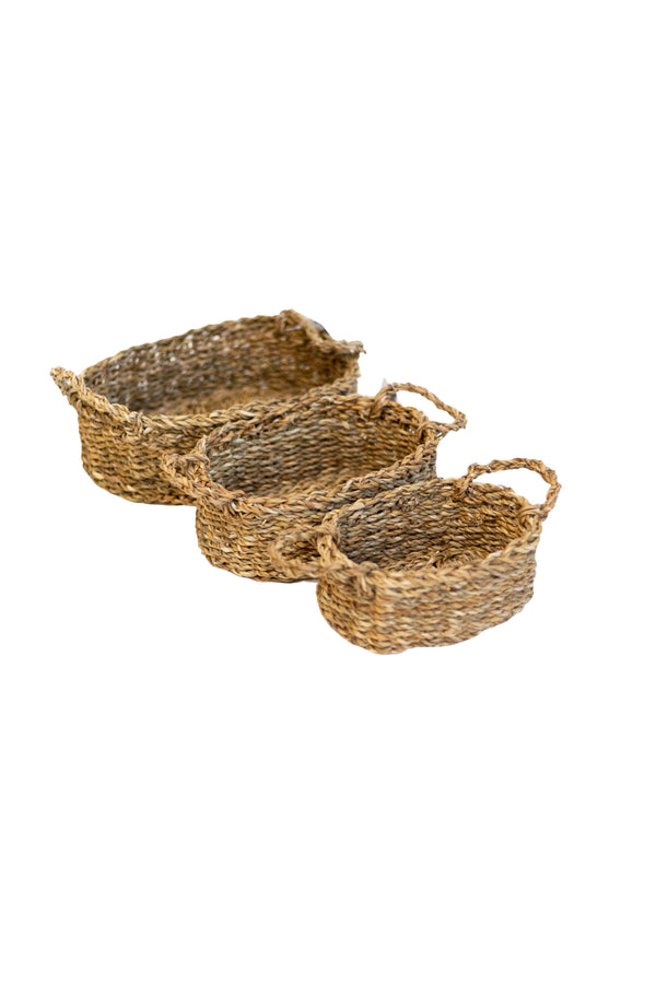 Natural Seagrass Woven Oval Baskets