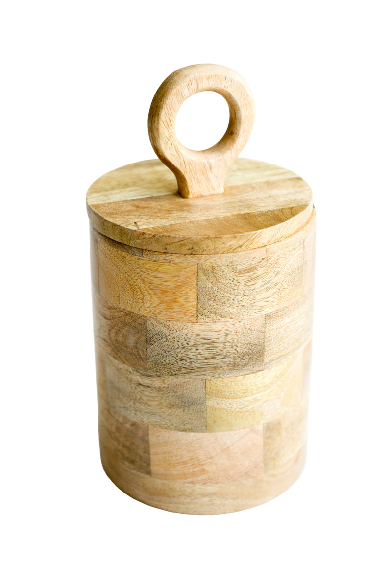 Loop Top Mango Wood Canister