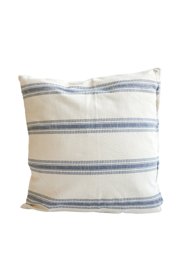 Blue Striped Cotton Pillow