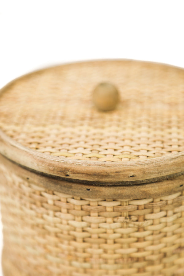Lidded Rattan Basket
