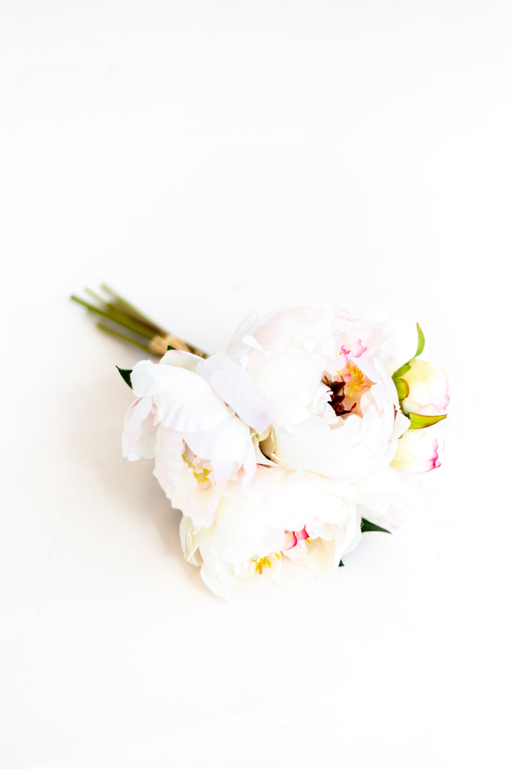 "14"" Peony Bouquet in Cream + Pink"