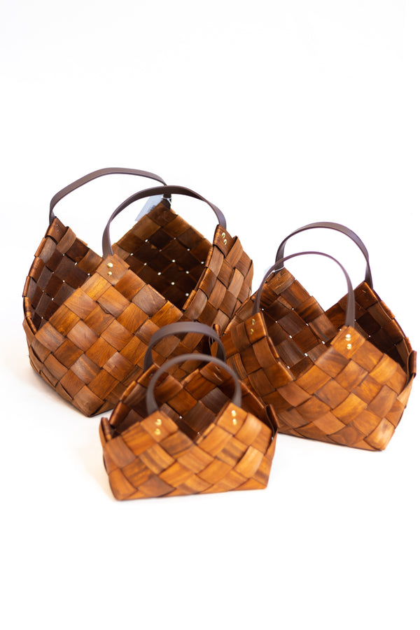 Marley Seagrass Baskets with Leather Handles