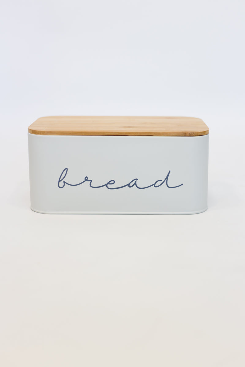 Grey Bread Tin With Wood Lid