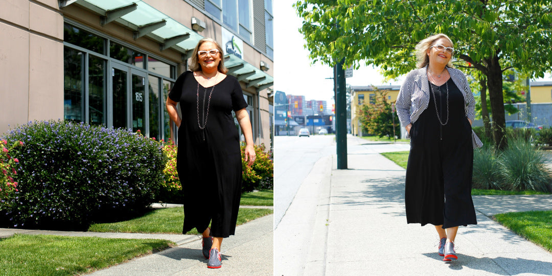 Barb Wilkins wears outfits by Diane Kennedy; Vancouver designer
