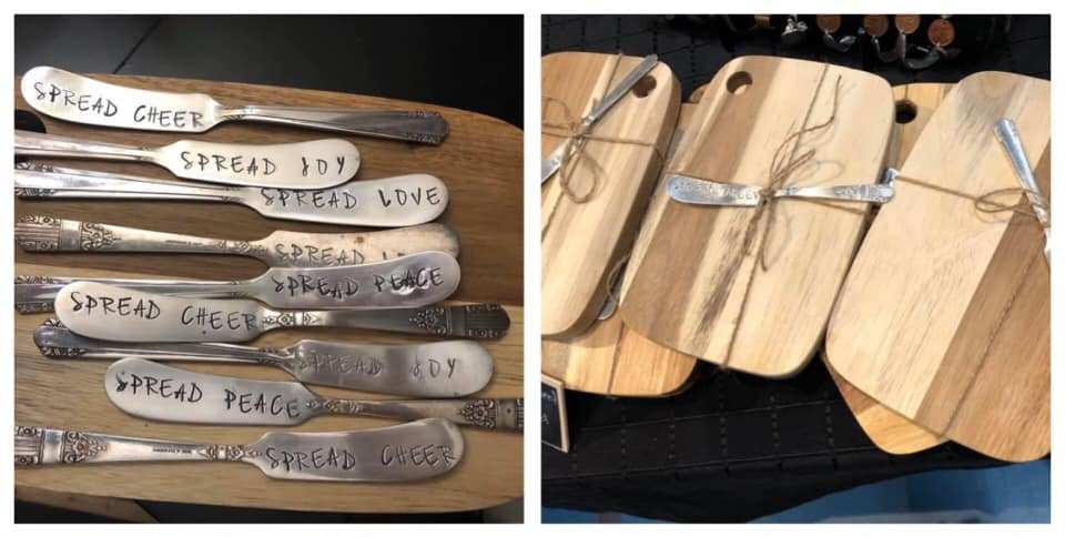 hand crafted and stamped plated silver butter knives