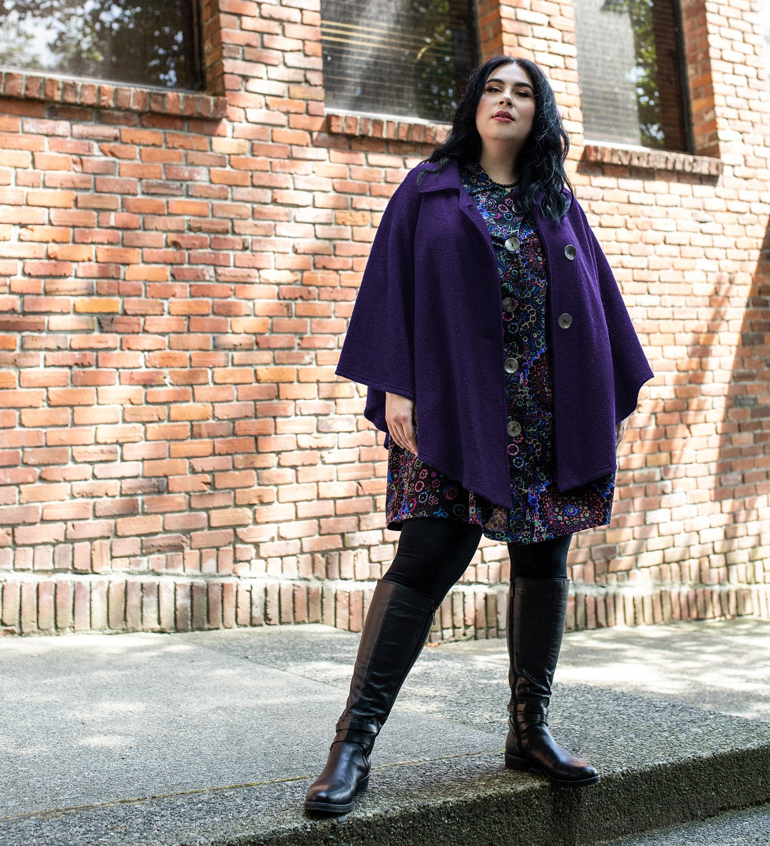 Diane Kennedy Wool Cape in purple on model Veronica Belle