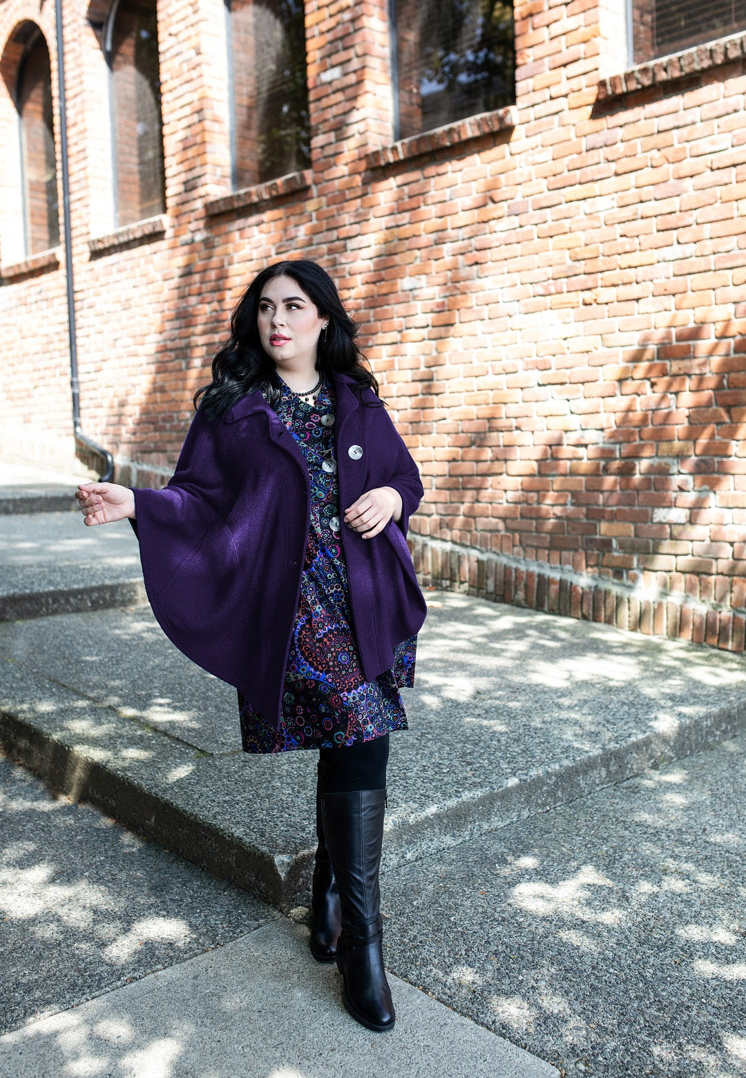 Veronica Bell models Diane Kennedy's new A Cappella Cape