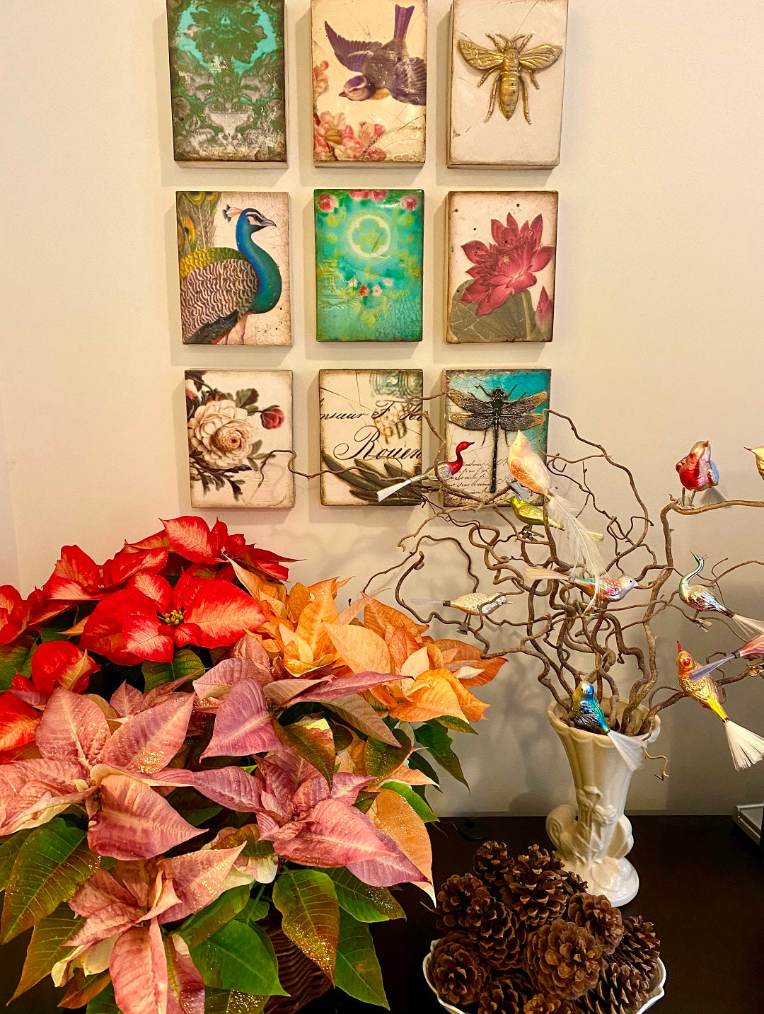 Sid Dicken's Wall tiles with a Poinsettia basket and vintage ornaments