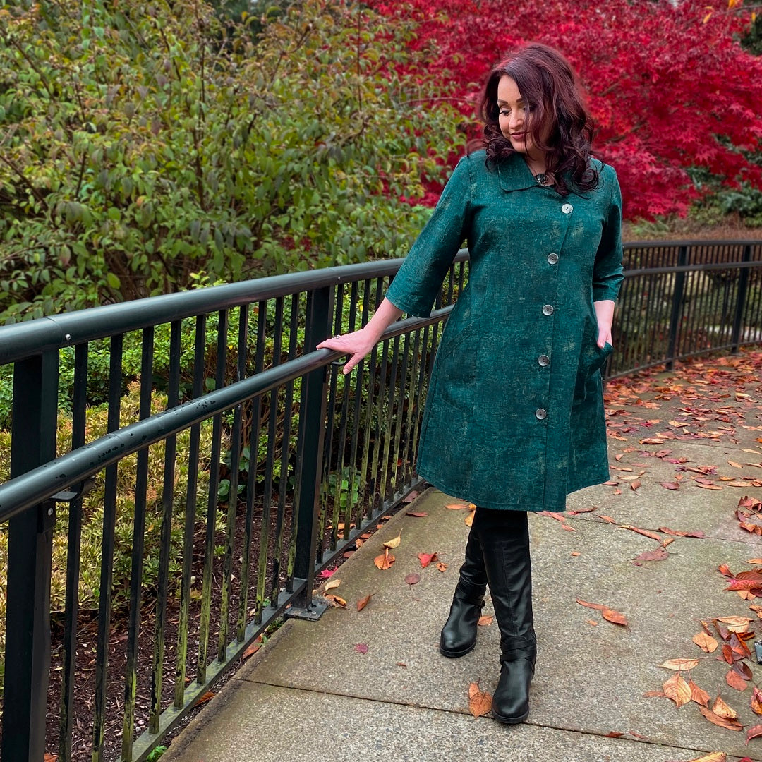 Diane Kennedy's Rhapsody Coat styled casually over tall boots