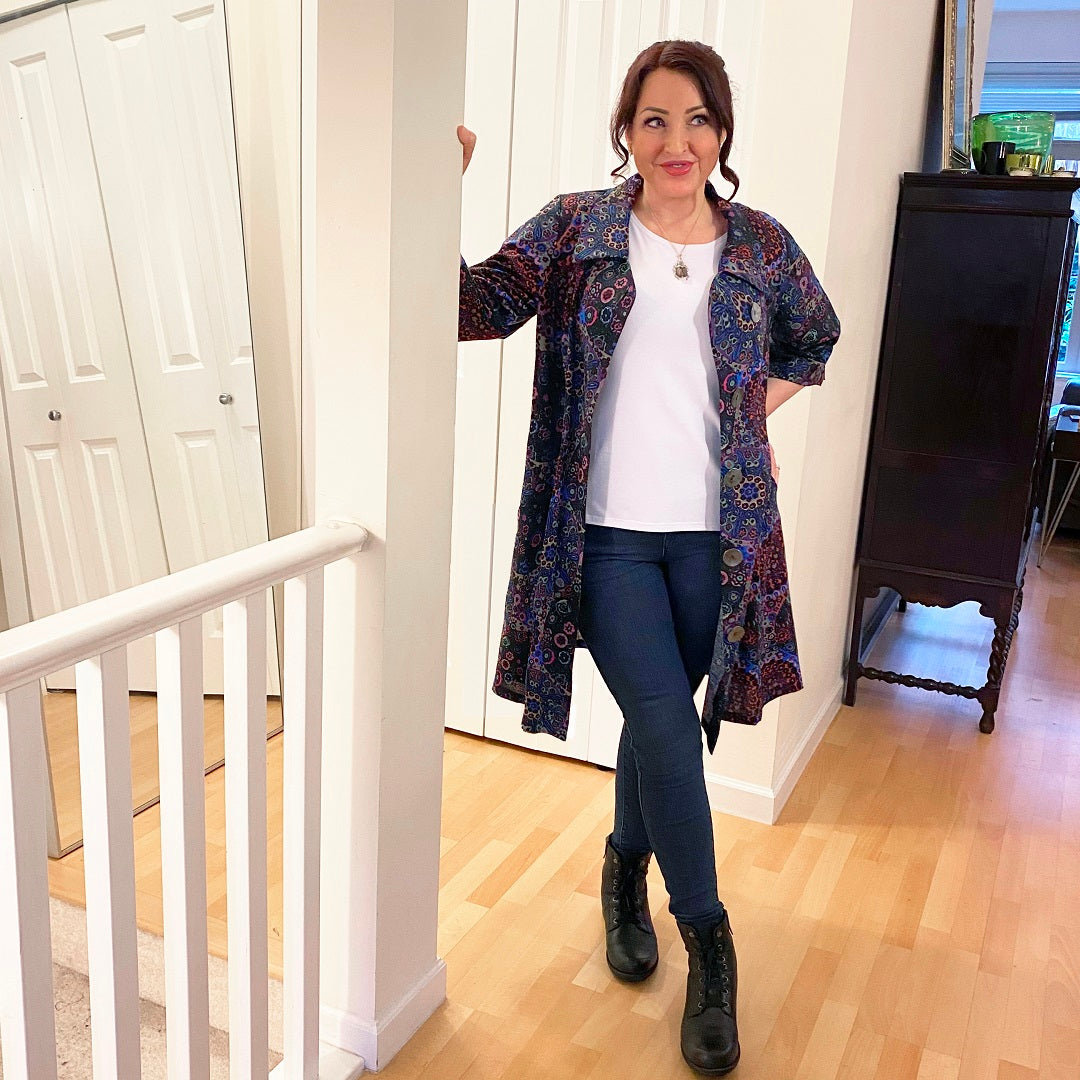 Diane Kennedy's Rhapsody Coat styled casually over jeans and a white tee