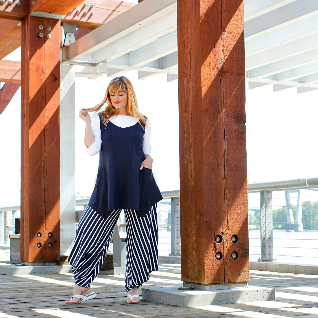 Jennifer Pistor wears a Diane Kennedy outfit of the Add Pockets Tunic, Perfect Tee and Smarty Pants