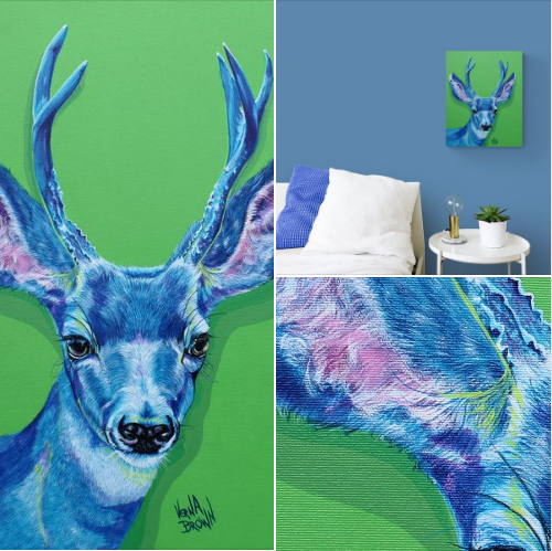 portrait of a stag by Verna Brown Art