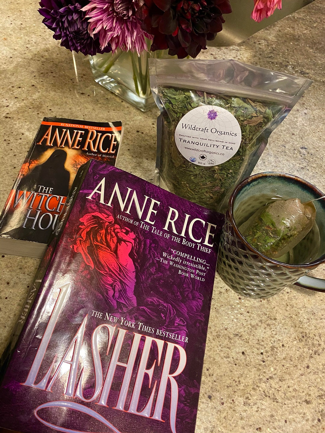 Tranquillity tea and Books by Anne Rice