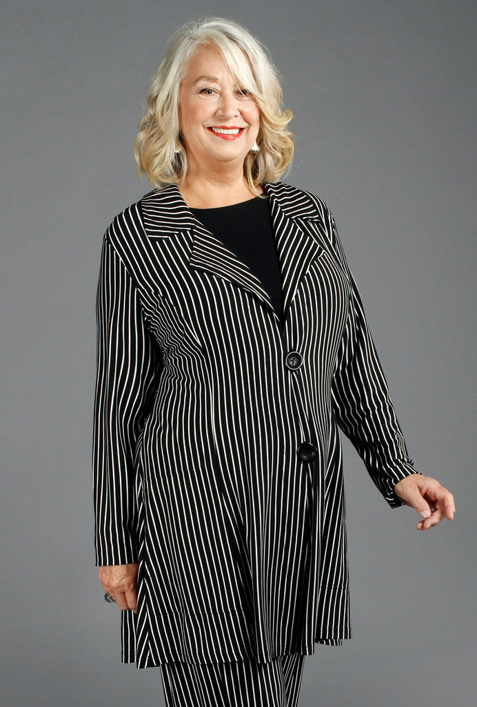 Jaunty Jacket - Black & White Stripe Bamboo - only XL