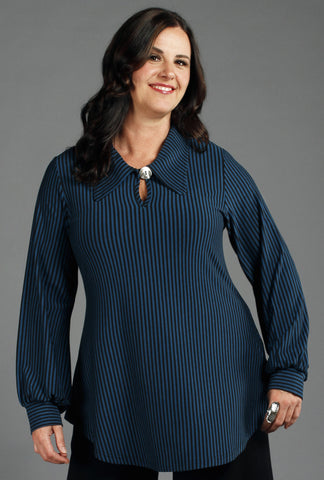 Poet Shirt - Black & Moroccan Bamboo Stripes